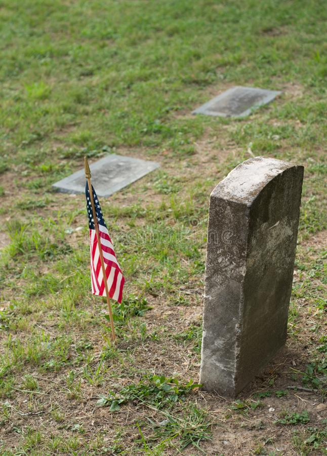Tombstone and US Flag