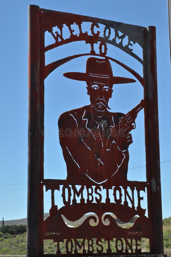 Tombstone Welcome. Welcome sign in Tombstone, Arizona stock image