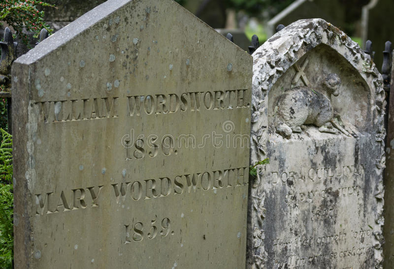 Tombstone of William Wordsworth in Grasmere. stock image