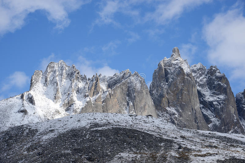 Tombstone yukon. Jagged mountains in tombstone territorial park in yukon, canada stock photography