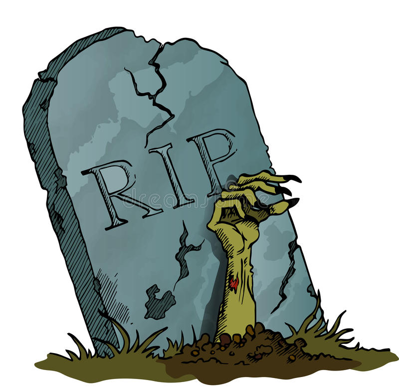 Tombstone with Zombie Hand. Image stock illustration