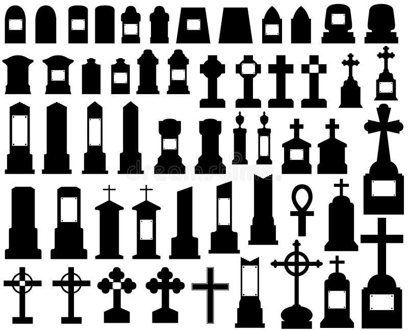 Tombstones. Illustration of tombstones isolated on white stock illustration