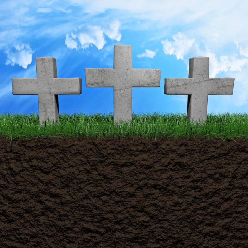 Tombstones background. Three tombstones on a grass field background 3d illustration royalty free illustration