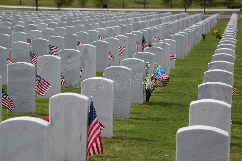 Tombstones at Cape Canaveral National Cemetery royalty free stock image