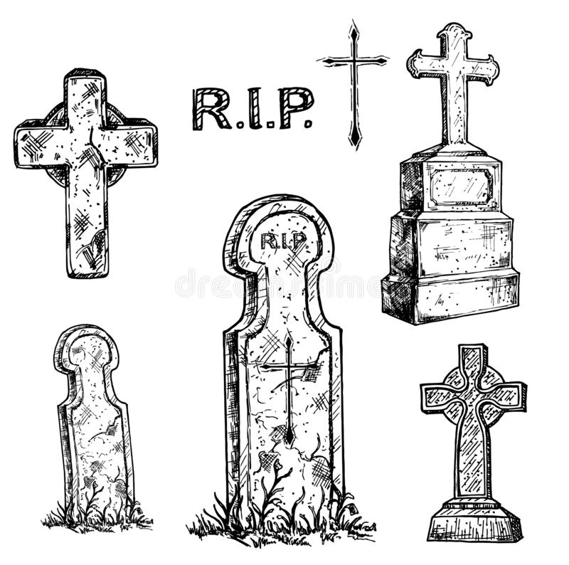 Tombstones and grave crosses set. Old marble stone tombstone with christian cross and title R.I.P. stock illustration