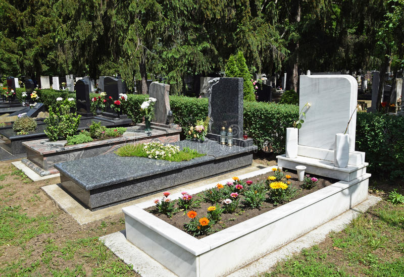 Tombstones in the public cemetery royalty free stock photography