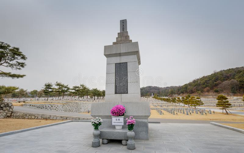 Tombstones in Seoul National Cemetery royalty free stock photography