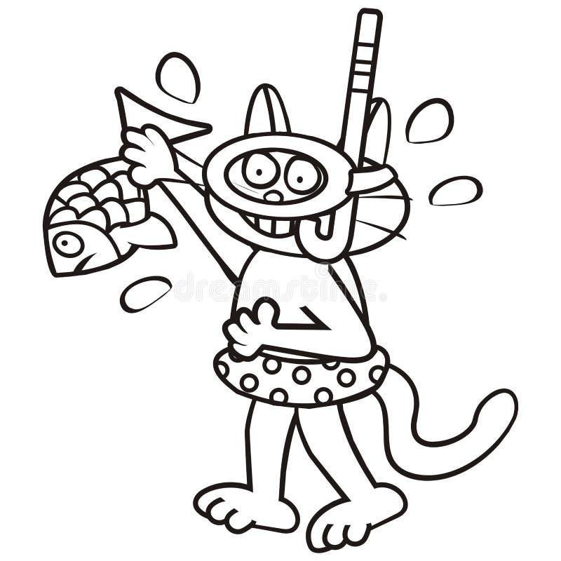 Tomcat und Fische, Malbuch stock abbildung