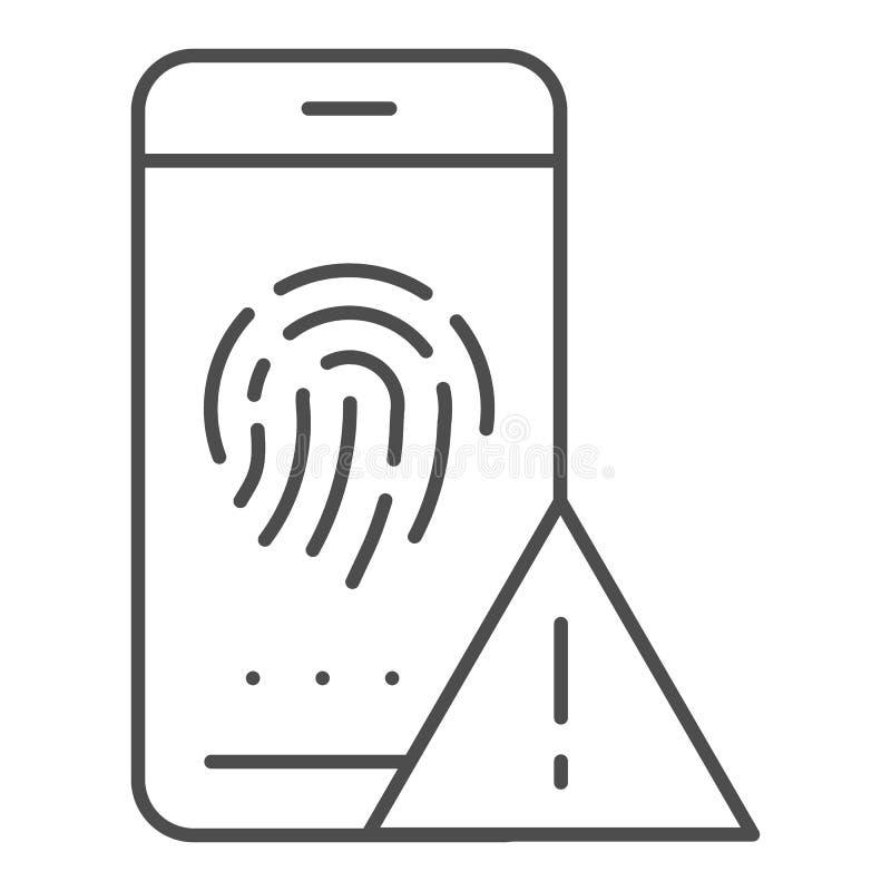 Tome as impressões digitais a linha fina ícone da identificação Ilustração do vetor da autorização isolada no branco Esboço do se ilustração do vetor