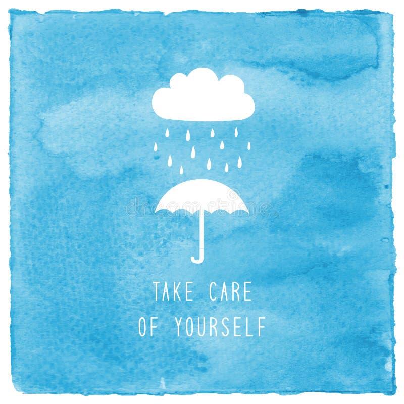 Tome a cuidado de sí mismo el texto en acuarela azul stock de ilustración