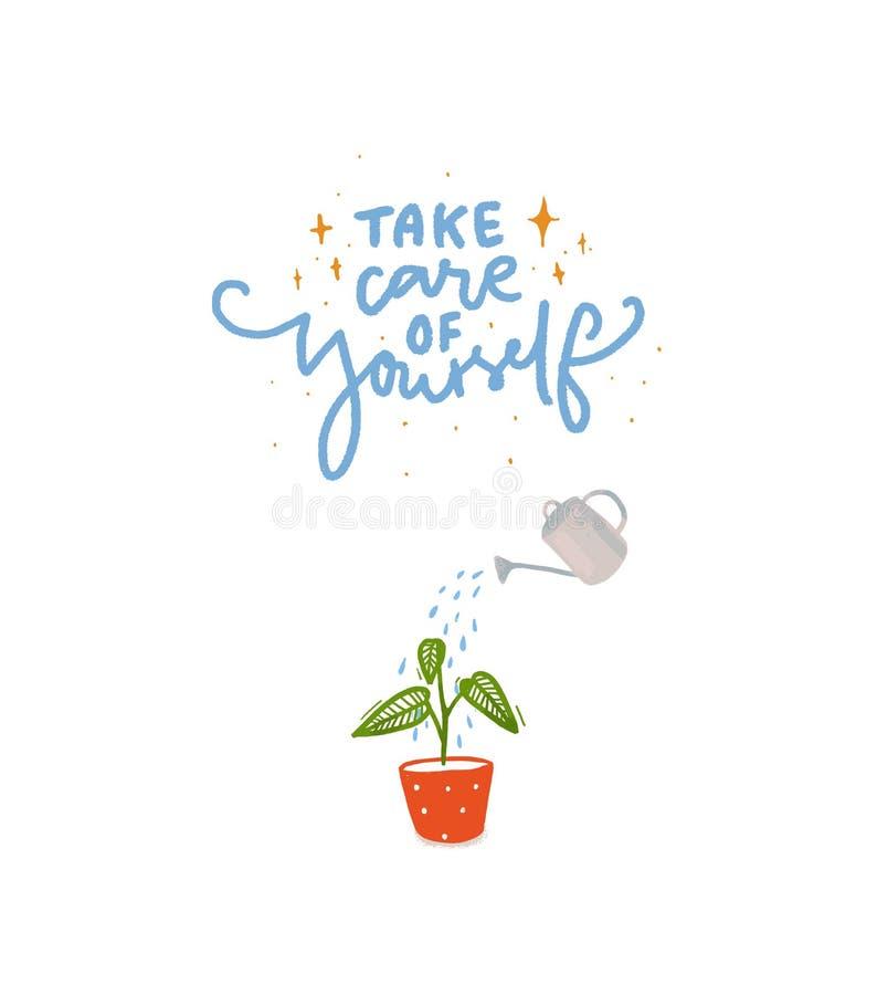 Tome el cuidado de sí mismo Mano que pone letras a la inscripción con el ejemplo de la planta que riega con la poder del agua libre illustration