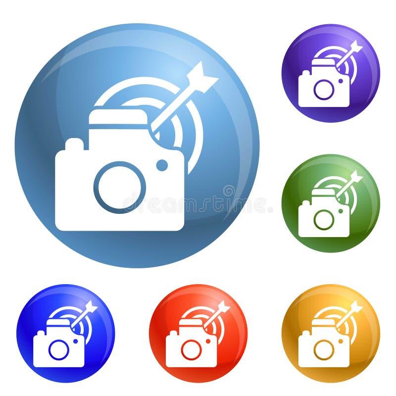 Tome el vector del sistema de los iconos de la blanco de la foto ilustración del vector