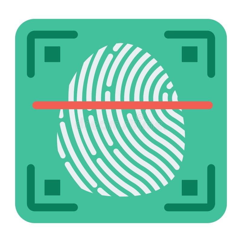 Tome las huellas dactilares el icono del escáner, la identificación y la seguridad planos stock de ilustración