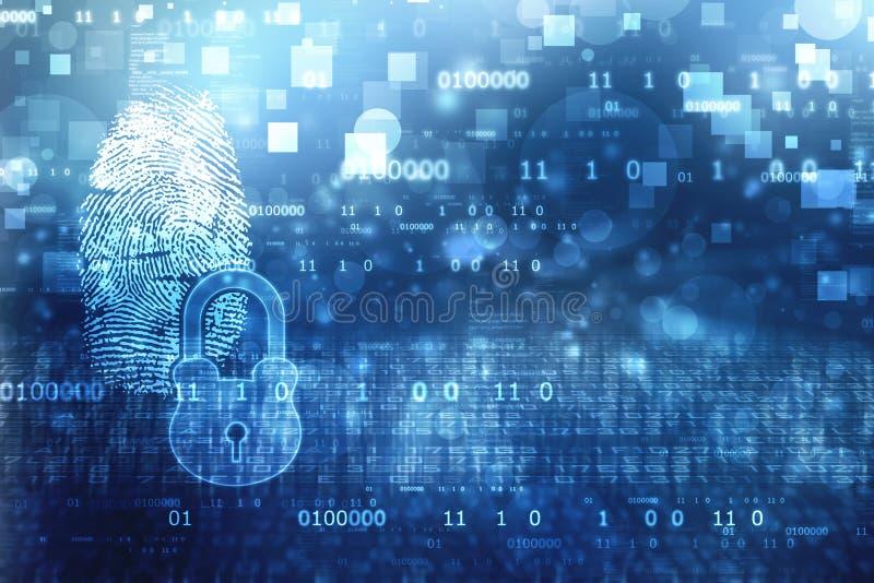 Tome las huellas dactilares el sistema de identificación de la exploración, el sistema de seguridad digital con la huella dactila stock de ilustración
