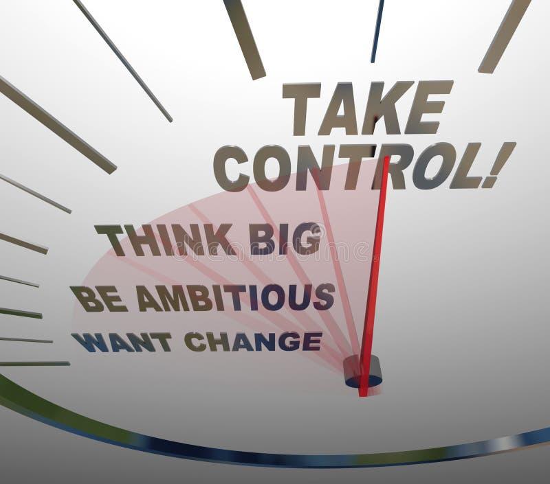 Tome o velocímetro do controle pensam que grande queira a mudança ilustração stock