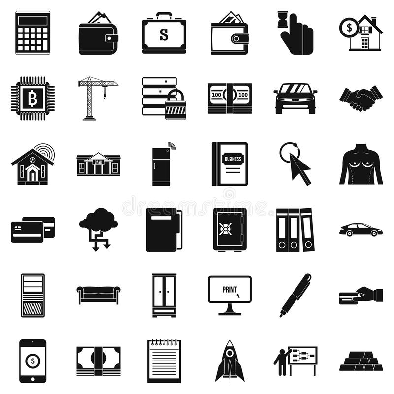 Tome os ícones ajustados, estilo simples de um crédito ilustração royalty free