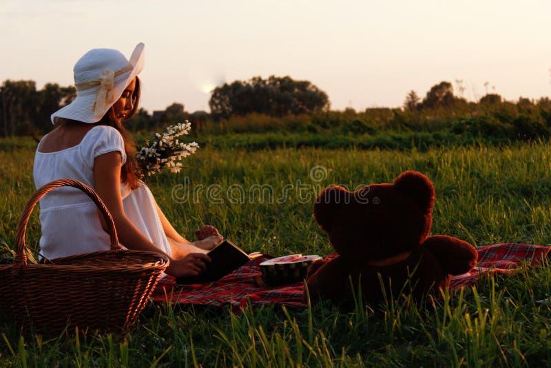 Tome parte num piquenique em um prado verde no verão fotografia de stock