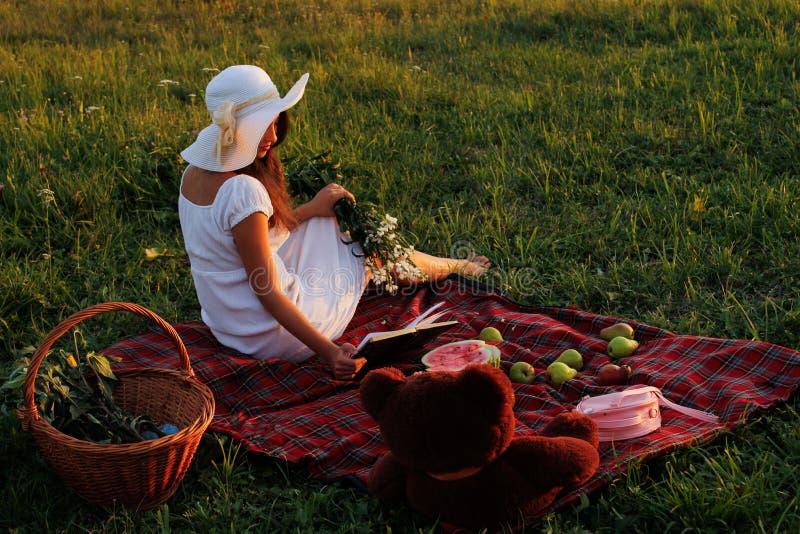 Tome parte num piquenique em um prado verde no verão fotografia de stock royalty free