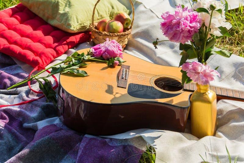 Tome parte num piquenique no exterior com guitarra, maçãs, descansos e peônias fotografia de stock