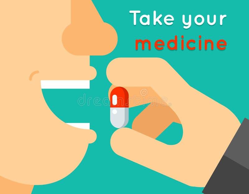 Tome su concepto de la medicina La persona introduce la tableta stock de ilustración