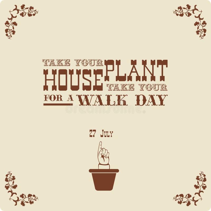 Tome su Houseplant para el día del paseo stock de ilustración