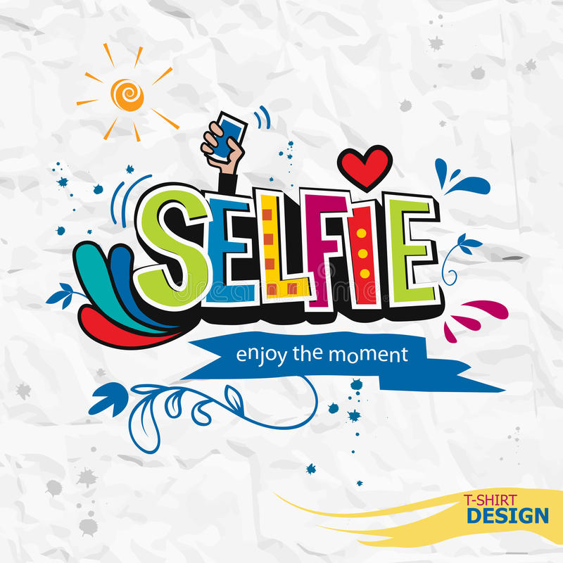 Tome uma mão-rotulação da cor das citações da motivação do selfie fotografia de stock