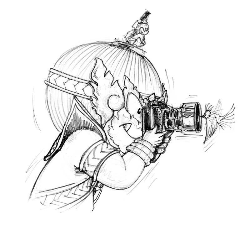 Tome uma parte dianteira do pássaro da foto do esboço dos desenhos animados da câmera ilustração do vetor
