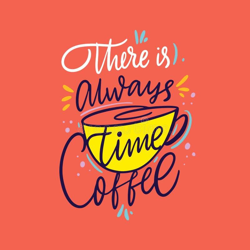 Tome uma ruptura que ? tempo do caf? Cita??es tiradas m?o da rotula??o do vetor Isolado no fundo coral da cor ilustração do vetor
