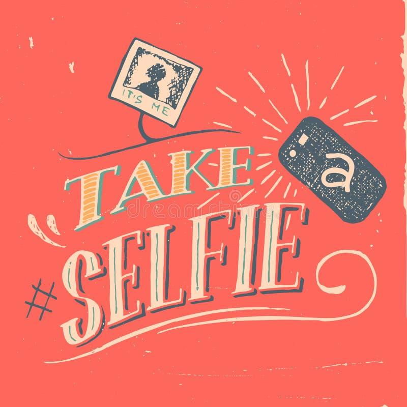 Tome un cartel del selfie ilustración del vector
