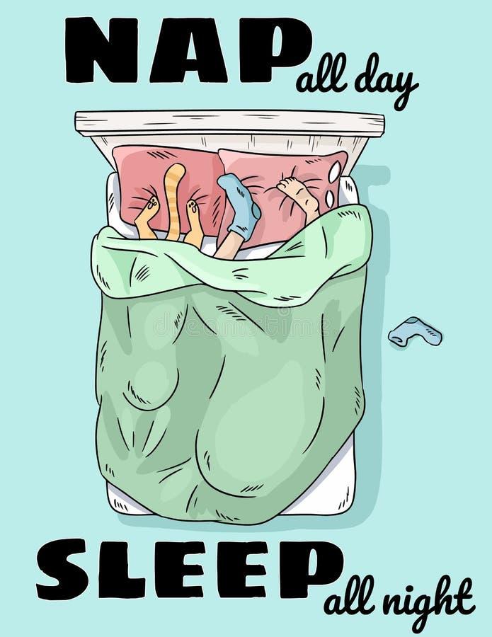 Tome una siesta todo el día para dormir toda la noche Persona que duerme en cama con el gato Piernas en la escena divertida de la stock de ilustración
