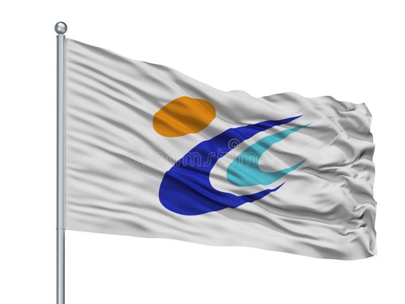 Tomi City Flag On Flagpole, Japon, préfecture de Nagano, d'isolement sur le fond blanc illustration libre de droits