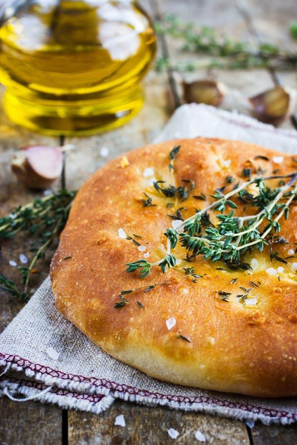Tomillo italiano del pan del focaccia imagen de archivo libre de regalías