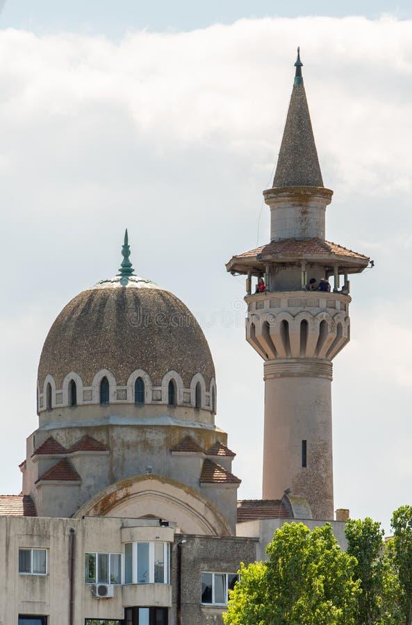 Tomis port från Constanta Rumänien, minaret royaltyfri fotografi