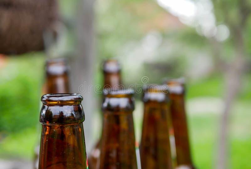 Tomma ölflaskor i raden, grunt djup av fältet arkivbild