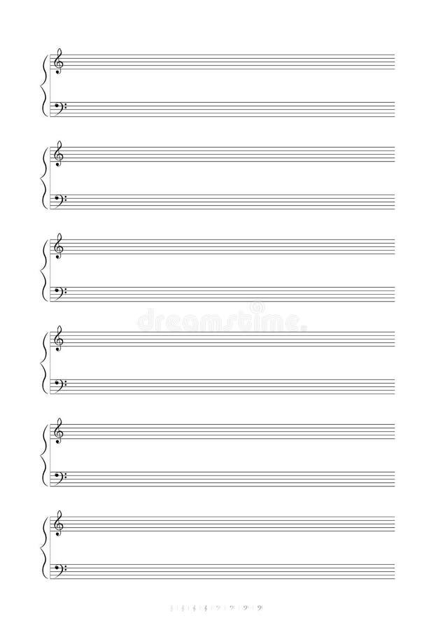 Tomma anmärkningar för musik A4 stock illustrationer