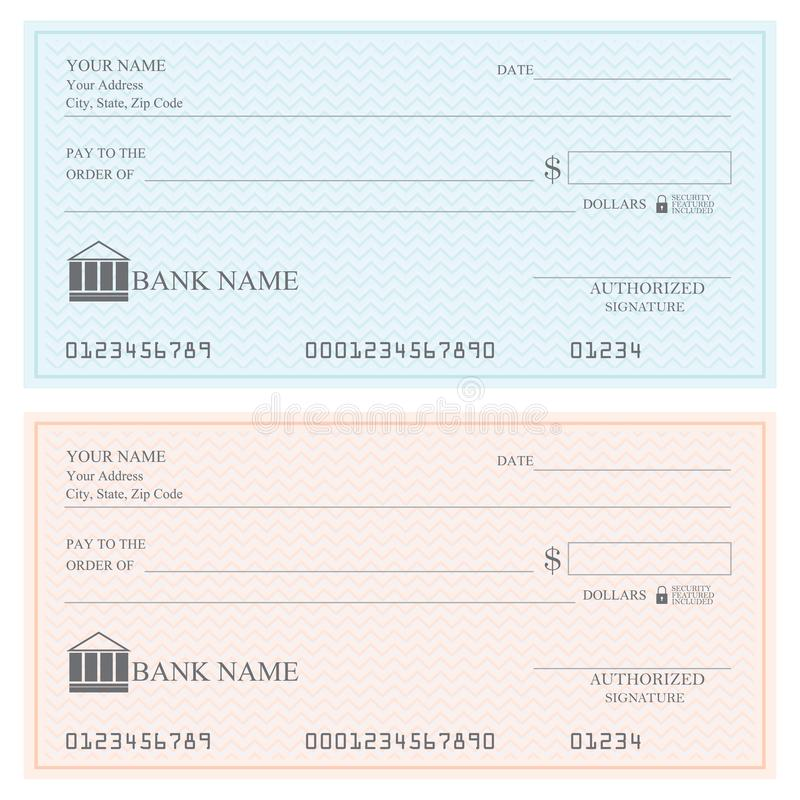 Tomma bankkontroller eller checkbok royaltyfri illustrationer