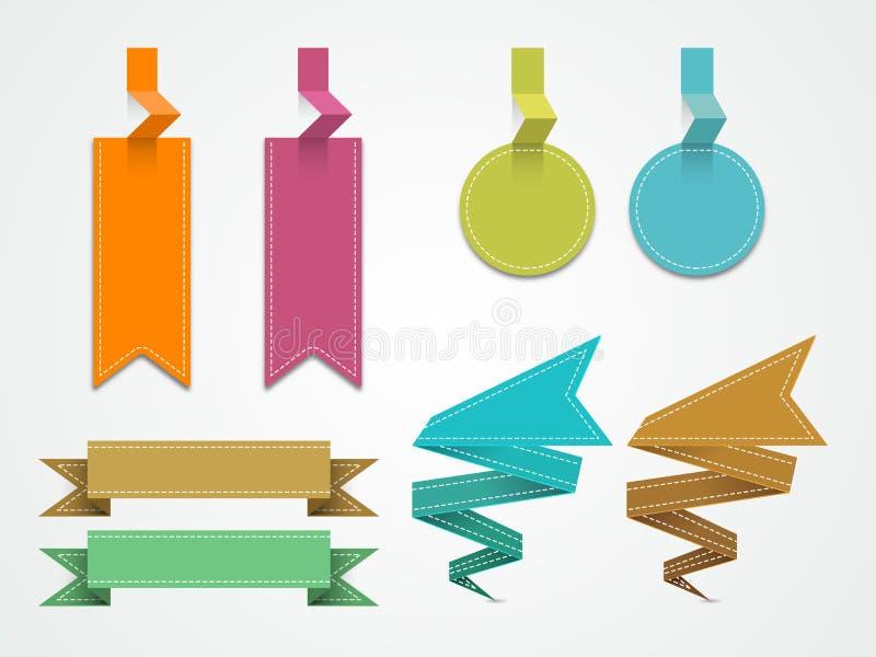 Tomma försäljnings- och rabattetiketter, klistermärkear eller etiketter royaltyfri illustrationer