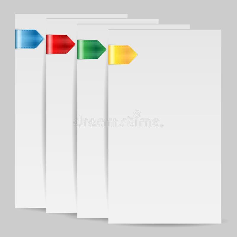 Tomma folias av papper med den färgade bok-fläcken royaltyfri illustrationer