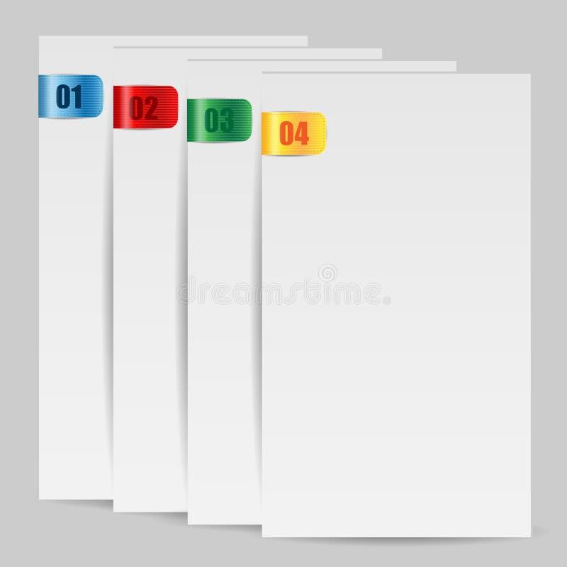 Tomma folias av papper med den färgade bok-fläcken vektor illustrationer