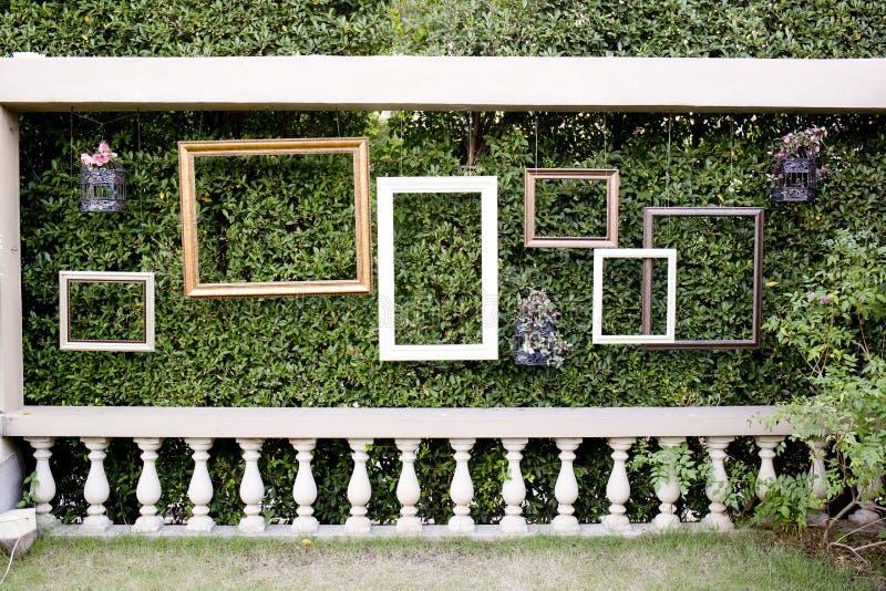 Tomma fotoramar mot den gröna lilla trädväggen och vit fäktar arkivbilder