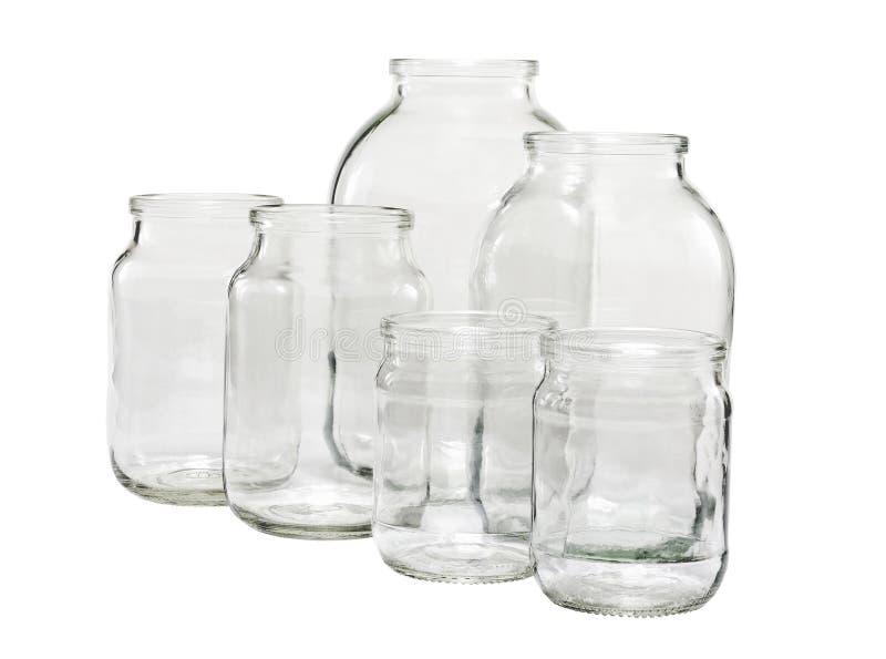 tomma glass jars royaltyfri fotografi