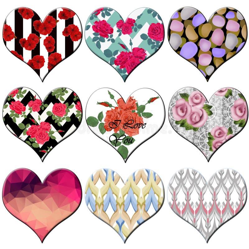 Tomma gulliga etiketter för beståndsdelar för valentindaghjärtor, klistermärkear, knapp royaltyfri illustrationer