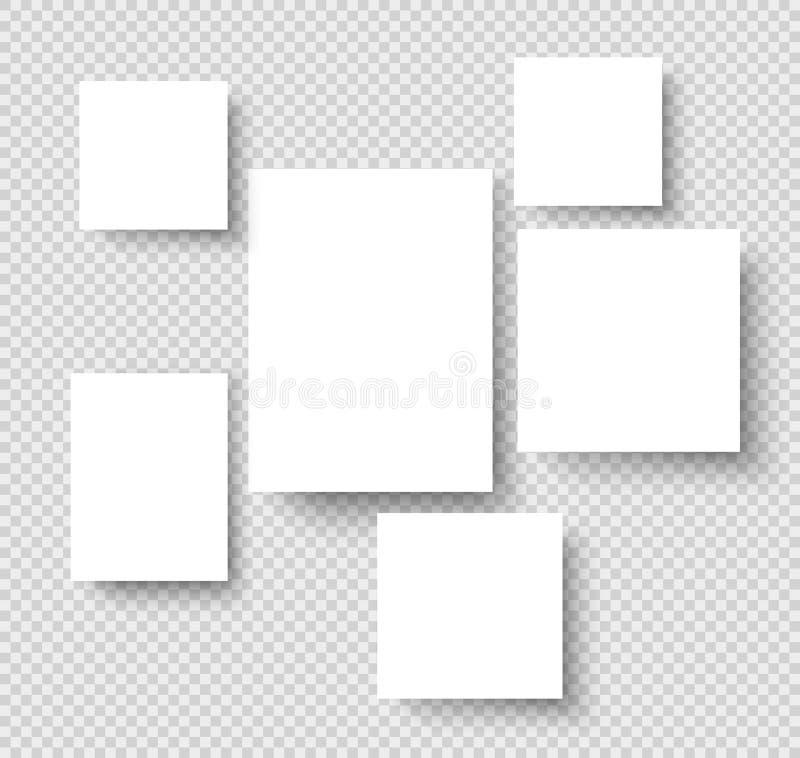 Tomma hängande fotoramar Pappers- rektangulära gränser för konstgalleri Foto på väggvektormodell royaltyfri illustrationer