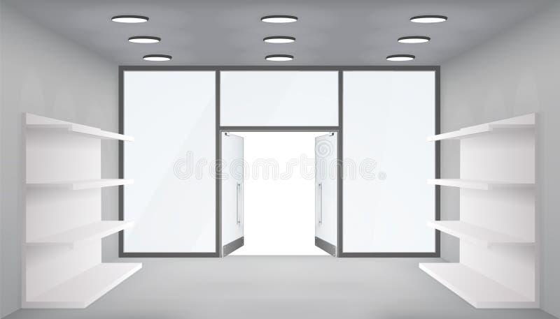 Tomma handelhyllor lagrar inre öppna dörrar som 3d shoppar för fönsterutrymme för utrymme ljus realistisk bakgrund för modellen f vektor illustrationer