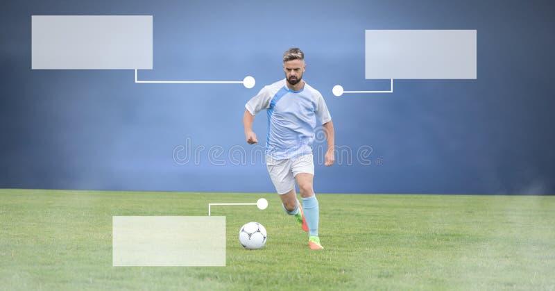 Tomma infographic paneler och fotbollspelare på gräs med stadion vektor illustrationer