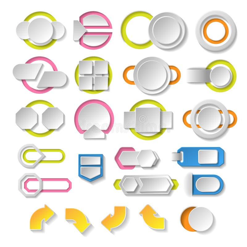 Tomma infographicsbeståndsdelar. Mall för modern design. Abstrakt rengöringsduk- eller diagramorientering vektor illustrationer