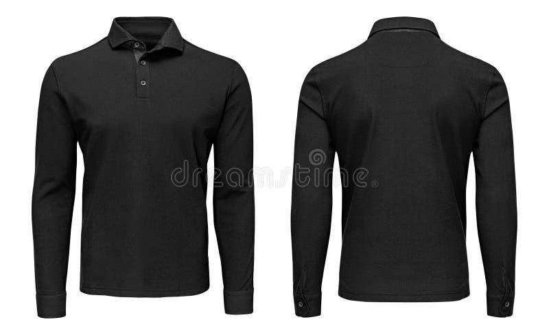 Tomma mallmäns svart sikt för muff, för framdel och för baksida för skjorta för polo lång, vit bakgrund Designtröjamodell för try royaltyfri bild