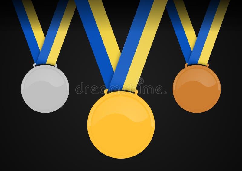Tomma medaljer med bandet royaltyfri illustrationer
