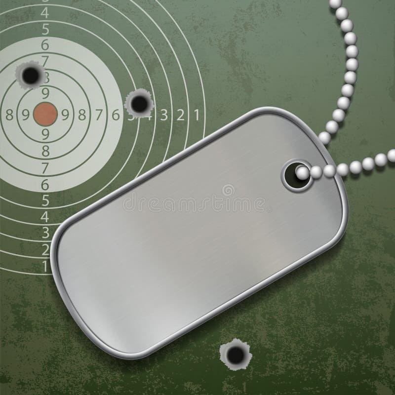Tomma metalletiketter på en kedja Militär soldat för legitimation royaltyfri illustrationer