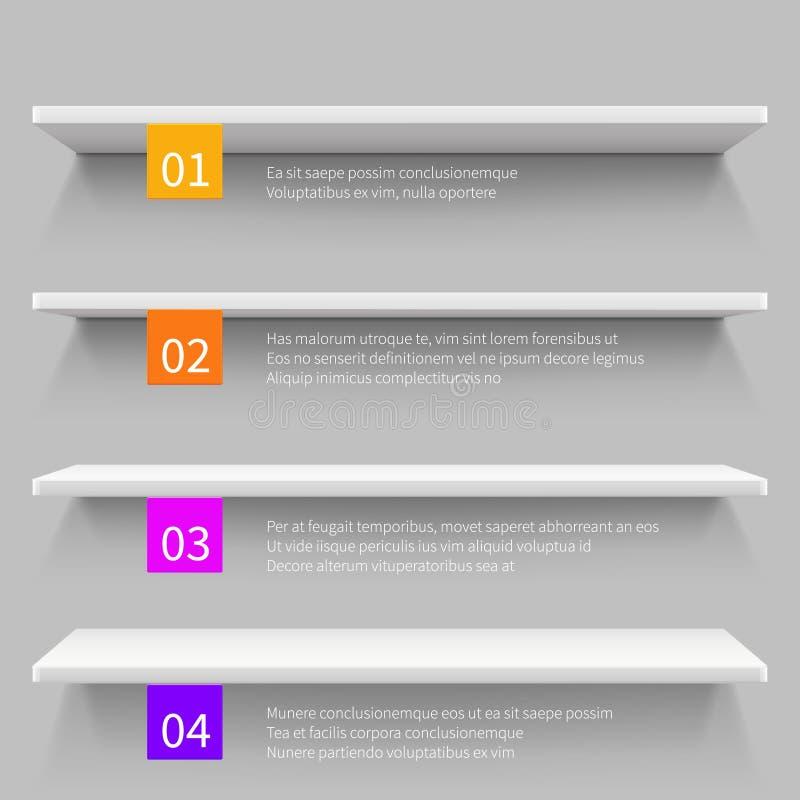 Tomma moderna hyllor för lager 3d för produkt Shoppa den infographic mallen för den inre vektorn vektor illustrationer